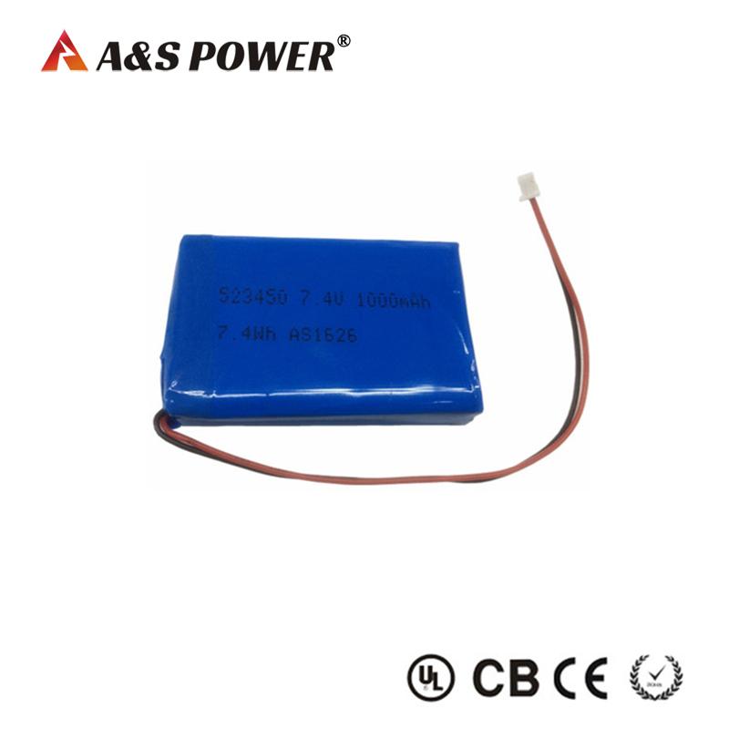 UL approval 523450 7.4v 1000mah lipo battery pack for led light