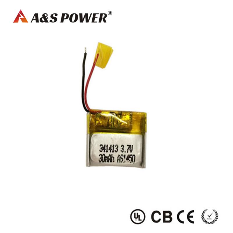 341413 3.7V 30mah small lipo battery for smart wearable device