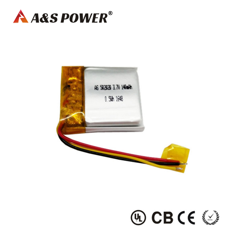 502020 3.7v 140mah lipo battery for wearable device