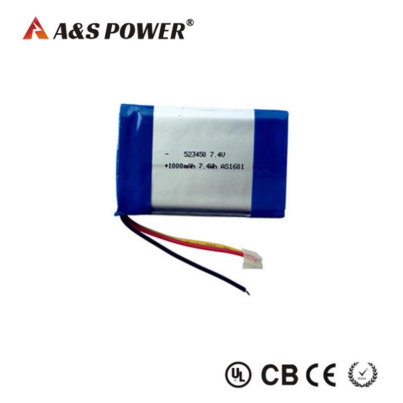 523450 Flat Lipo Battery 2S 7.4V 1000mAh Pack for GPS Camera