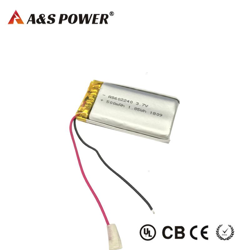 KC/UL Certification approval 602240 3.7V 500mah lipo battery