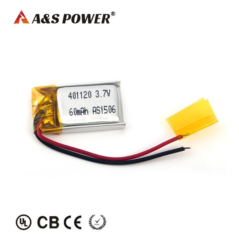 UL 401120 3.7v 60mah lithium polymer battery