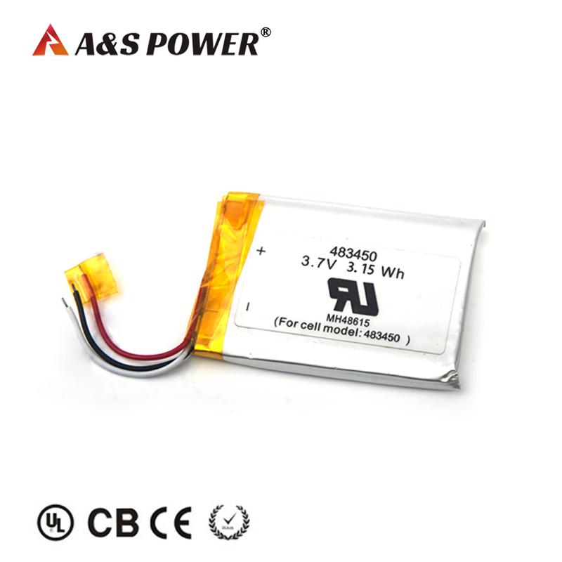 UL UN 483450 3.7v 850mah lithium polymer battery