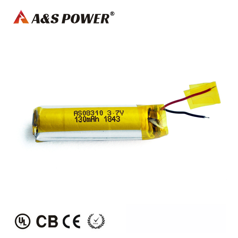 130mah 3.7v Cylindrical Lipo Battery Pack for Headset With IEC62133