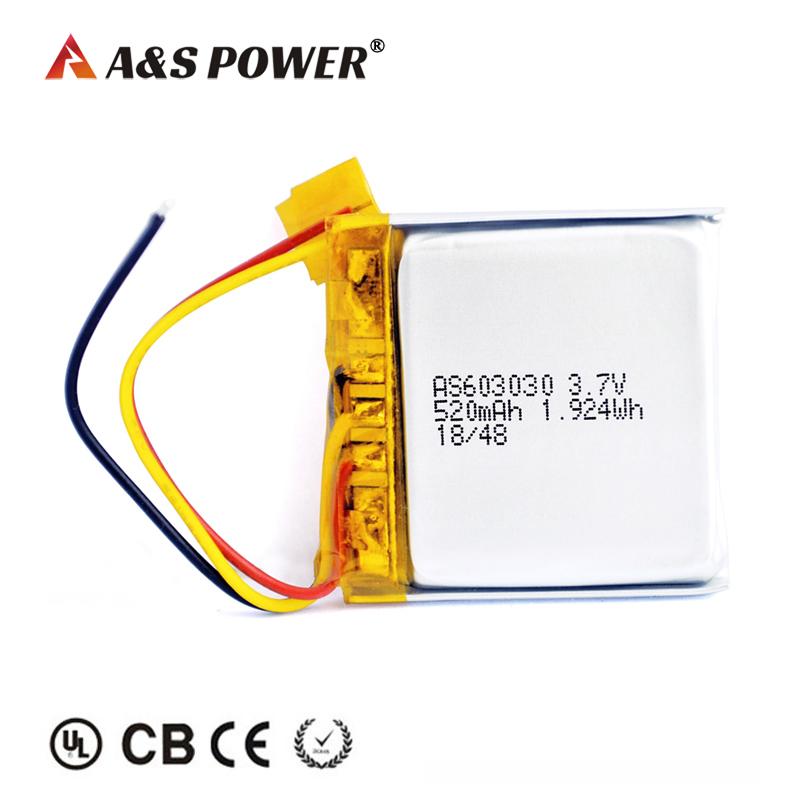 603030 3.7v 520mah lipo battery