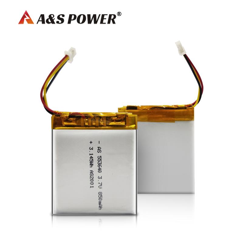 UL2054/CB/CQC/UN38.3 certified 553640 3.7v 850mah Lithium Polymer Battery