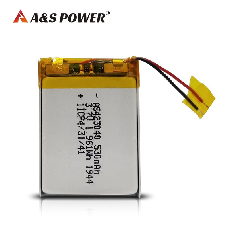 UL/IEC62133/ROHS KC Certification 423040 3.7v 530mah lithium polymer battery