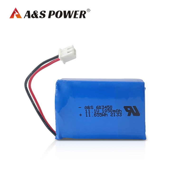 11.1v 3s 1050mAh 603450 lithium polymer rechargeable battery